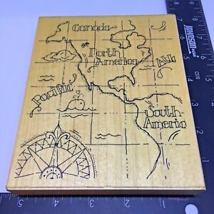 JRL Designs Rubber Stamp Mapped Background Canada North America South America