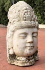 Old Chinese Tibetan Shakyamuni Amitabha Buddha Head Quartz Statue Sculpture 13.5