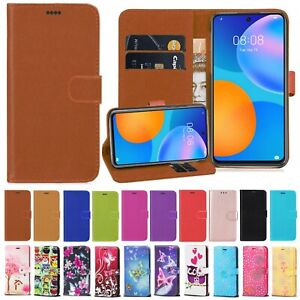 For Huawei P Smart 2017-19-20- 21 Flip Wallet PUI Leather Phone Stand Case Cover