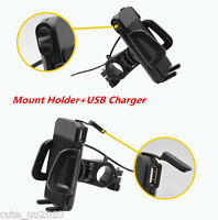 Waterproof Motorcycle Bike Cell Phone Handlebar Mount Holder+USB Charger 12V New
