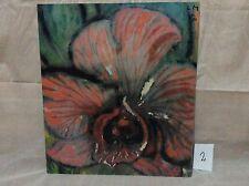 Lothar Malskat Kunstdruck Holzplatte Bild Orchidee / Original 1970 / 42x48,5cm