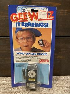 Vtg 1980 Galoob Gee Whiz It Rings Wind-up Pay Phone Toy - New In Package!