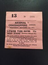 Ticket: Arsenal V Grasshoppers 3/11/1971 European Cup
