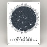 21st BIRTHDAY GIFTS PERSONALISED STAR MAP PRINT METAL SIGN HIM HER FRIEND CARD