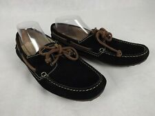 Ecco Size 43 10 Black Suede Leather Moccasins Boat Shoes Comfort Driving Walking