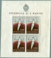 1955 San Marino foglietto Ginnasta 250 lire  ** MNH perfetto cert. Bolaffi