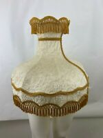 Vtg Victorian Lamp Shade Tan Fur /Velvet Fringe Brocade Table/Floor Lamp 8 Panel