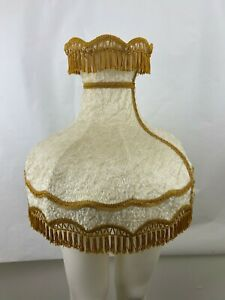 Vtg Victorian Lamp Shade Tan Fur /Velvet Fringe Brocade Table/Floor Lamp 8 Panel