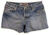Volcom Womens Jean Shorts Dark Distressed Wash Denim Button Fly Size 9 Juniors