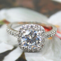1.55 Ct Round Cut Diamond Engagement Wedding Ring 925 Sterling Silver Size J