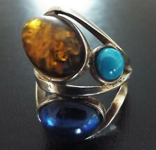 Beautiful Large Vintage Sterling Silver Turquoise, Amber, Lolite Gemstone Ring