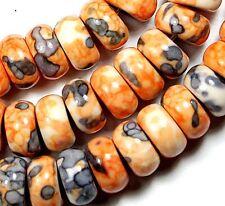 "5x10mm Orange Rain Stone Heishi Loose Beads 16"""