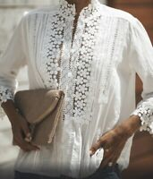 L New Boho White Lace 3/4 Sleeve Vtg 70s In Button Front Top Blouse Womens LARGE
