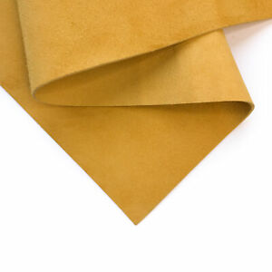 YELLOW Suede Leather 8x10in/20x25cm Bright Yellow Velour Fabric Scraps 2.5oz/1.