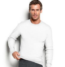 $60 ALFANI Men's THERMAL T SHIRT Long Sleeve WHITE CREW NECK TOP UNDERWEAR M