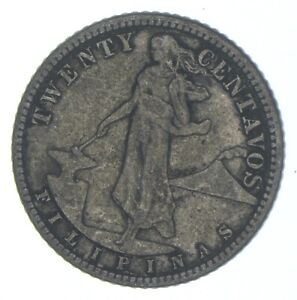 Roughly Size of Nickel 1917 Philippines 20 Centavos World Silver Coin *504