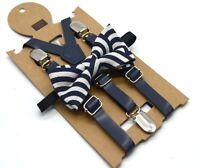 Kids Children Boy Formal Party wedding Navy Pants Brace Suspender bowtie set 1-8