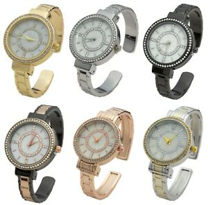 Blekon Collections Women's 34mm Case Rhinestone Dial Metal Cuff Bangle Watch