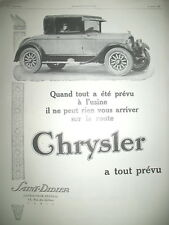 PUBLICITE DE PRESSE CHRYSLER AUTOMOBILE  FRENCH AD 1926