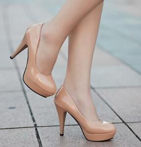 Womens Platform Block Heels Round Toe Slip on Court Party Heels Pumps Shoes Size