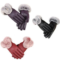 Women'S Winter Genuine Sheepskin Leather Gloves Real Rex Rabbit Fur Thick Wa 1D5