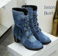 Jd_uk Womens Fashion Retro Round Toe Lace Up Denim Ankle Boots Block Mid Heels 3