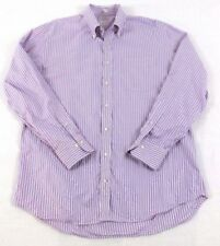 Peter Millar Mens Size L Shirt  Button-Down Collar 100% Cotton Lavender Stripped