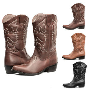 AU SHIP SheSole Womens Cowboy Boots Cowgirl Western Mid Calf Winter Shoes Size