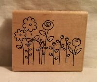 JRL Design Flower Garden Rubber Stamp Wood