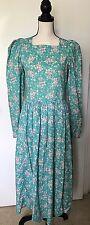 Vintage LAURA ASHLEY SZ 10 Dress Floral Cotton Prairie L/S Tea Length Modest