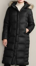 EDDIE BAUER ESSENTIAL DUFFLE DOWN PARKA TRENCH COAT BLACK PS 650FP ARCTIC COLD