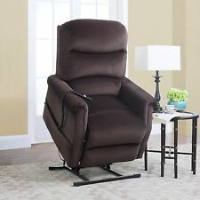 Brown Classic Plush Power Lift and Recliner Microfiber Living Room Chair