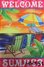 "Welcome Garden Flag 28X40""  Large House Flags Banner Summer Beach Chair  HY151"