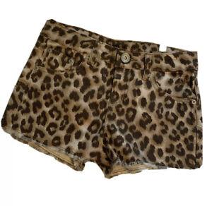 Justice For Girls Leopard Animal print Denim Shorts Size 10