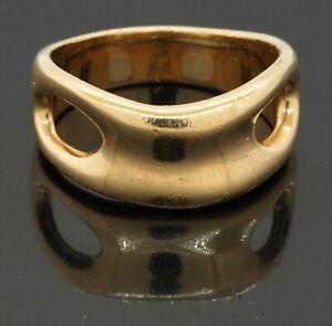 Tiffany & Co. Elsa Peretti heavy 18K yellow gold elegant band ring size 9