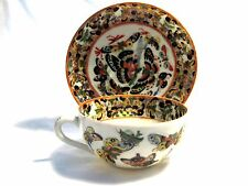 "Antique Enameled Chinese ""Thousand Butterfly"" Porcelain Tea Cup/Saucer C 1870s"