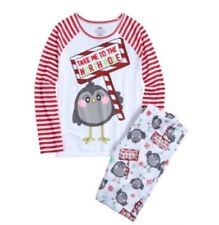 NWT JUSTICE LONG PAJAMAS SET PENGUIN TAKE ME TO THE NORTH POLE SIZE 8