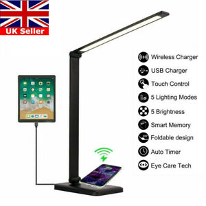 Wireless Phone Charger Dimmable LED Desk Table Reading Lamp Bedside Night Light