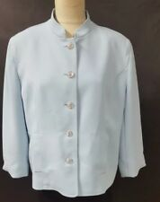 Evelyn & Arthur Light Blue Blazer Size 16 Button Front Mandarin Collar Career