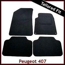 Peugeot 407 2004 - 2008 2009 2010 a Medida Alfombra Alfombrillas De Coche Negro Ajustada Alfombra