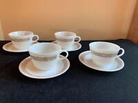 SET OF 4 Corelle WOODLAND BROWN Pyrex Milk Glass Cups & Saucers