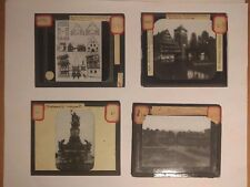 Lot of 4 Colorized Glass Slides - German Streets Scenes from Early 1900