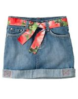 Gymboree Burst of Spring Skirt 3 5 6 7 Blue Jean Denim New Flower Belt Girls