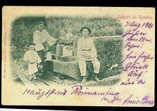 1900 Costumes,Peasant family,Water Source,SALUTARI DIN ROMANIA,Romania,postcard