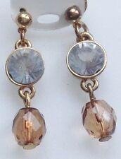 boucles d'oreilles clous pampille perle cristal solitaire diamant couleur or 661