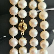 """Cultured Saltwater Pearl necklace on 14ct gold Diamond ball clasp, Length: 28"""""""