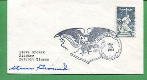 Firmado Cubierta Steve Gromek 1984 Detroit Tigers Jarra - B0768