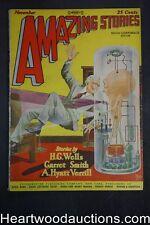 Amazing Stories Nov 1927 Frank Paul cover, H.G. Wells, A Hyatt Verrill,