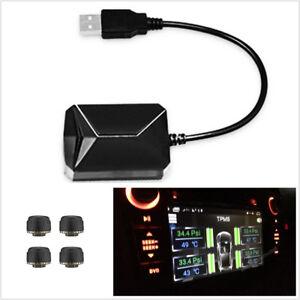 Car TPMS Tire Pressure Monitoring System 4 Sensors Tire Temperature Alarm W/ USB