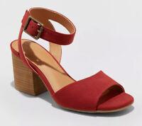Women's Megan Microsuede Quarter Strap Heeled Pump Sandals Universal Thread